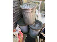 3 Galvanised Bins for sale