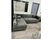🔴DISCOUNT SALE PRICE🔵New Florence sofa-plush velvet left/right hand corner sofa-in grey color⭐️