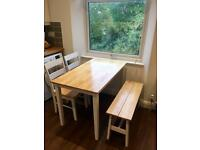 Solid Wood Table, Bench & 2 Chairs