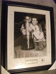 MAURICE RICHARD SIGNED PHOTO w/COA FRAMED 16x20 STANLEY CUP
