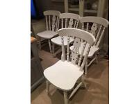 Shabby chic spray painted pine table and 4 chairs