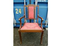 Stunning antique regency style chair with plush salmon red fabric and original studs