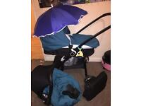 Kiddi care mooch 3in 1 Pram complete travel system hardly used