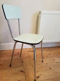 Original, vintage dining chairs 1960's chrome legs. Set of 4.