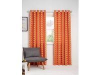 Orla Kiely Linear Stem Pair Lined Eyelet Curtains, Papaya 90x72-New & Sealed
