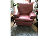 """X2 Real Italian leather """"Lazy Boy Style"""" Arm Chairs (Terracotta)"""