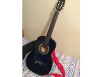 Two tone blue black hand crafted classical guitar