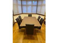 Glass Topped, Wooden Base Dining Table for 6