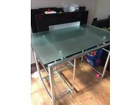Glass and Crome office table/desk with two shelves