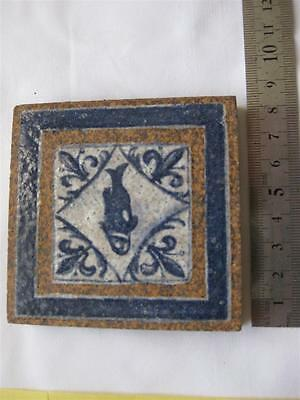Handmade Decorated SPANISH Teracotta Tile Fish pattern beautiful rustic original
