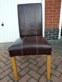 6 leather dining chairs. Solid construction, will need recovering.