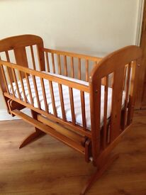 Wooden Baby Rocking cot with mattress