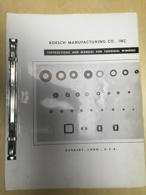 Operator & Maintenance Manual for Boesch Toroidal Winders Winding Machines