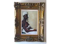 "ANTIQUE STYLE GOLD GILT PICTURE FRAME WITH PRINT 34""X44"""