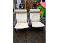 Pair of Ikea leather Poang Chairs.