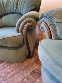 Large 2 seater and 2 armchairs in green with dark rosewood effect detailing