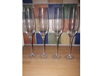 4x John Lewis Champagne/Prosecco flutes/glasses