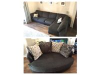 DFS Brown 5 Seater Corner Sofa and Cuddle Sofa Leather Base and Material Cushions