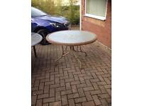 Round wicker glass table
