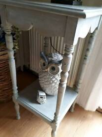 Shabby Chic painted tall side table
