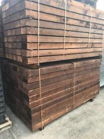 🌲 *New* Brown Tanalised Wooden Sleepers 8 X 4 X 2.4M