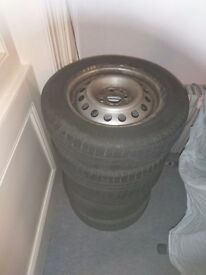 14 Inch Steel Wheels for VW Caddy, SEAT, AUDI 4x100 with tyres and centre caps.