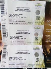 3 x Britney Spears Tickets - SSE Hydro Glasgow - AMAZING SEATS!