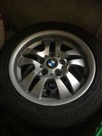 15 inch BMW alloys with fairly decent tyres