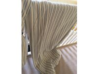 Handmade blue and white striped curtains