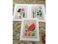 3 Kitchen Fruit and Veg Art Prints