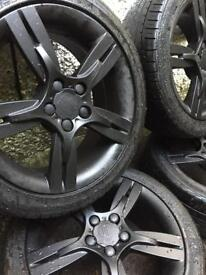 Black 5x100 seat ibiza fr black alloys bbs rota s line gti a3 polo skoda vrs golf bora caddy alloys