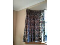 Pair of Curtains, William Morris style pattern, in blues & tan