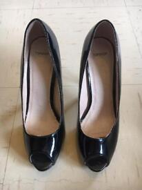 TOPSHOP ladies black patent heels shoes 4 like Zara river party