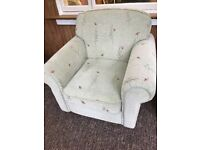 Pair of armchairs, green, lightly patterned - VGC