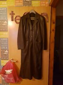 Ladies long length leather jacket
