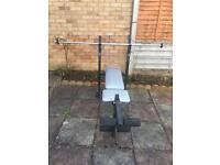 Weights with long bar bench