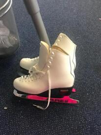 Beautiful white leather ski boots