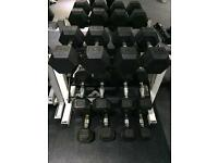 Rubber Hex Dumbbell Set & Storage Rack 4.5kg - 15kg (6 pairs)