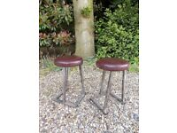 2 x Small Vintage Retro Industrial Metal & Leather Stools