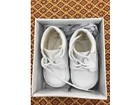 White baby shoes / baptism / occassion size 2