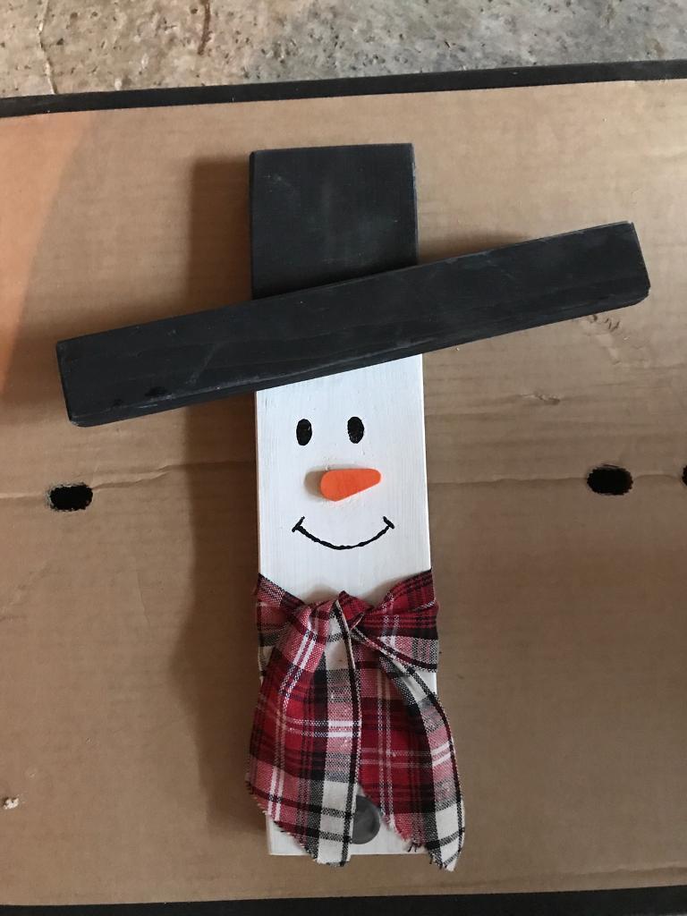 Handmade wooden snowman