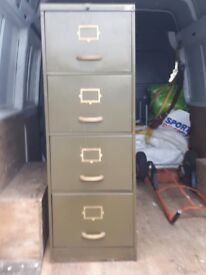 Old metal filing cabinet 1940s 4draw