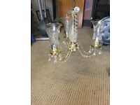 £30 for two glass chandeliers