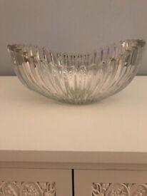 Vintage Art Deco Glass Fruit Bowl Pleated Design 1930s