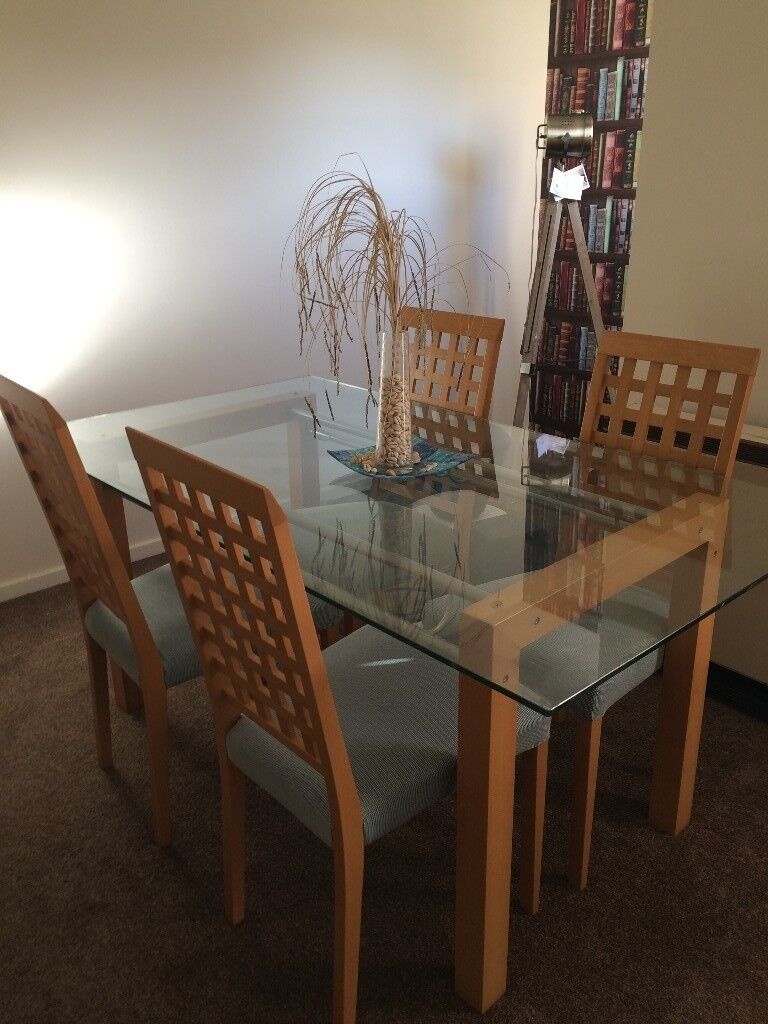 Ikea glass dining table and chairs £90