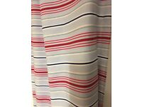 roman blind blue and white and red stripes