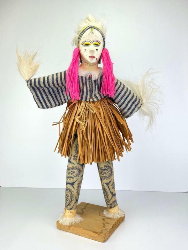 """Vtg African Tribal Medicine Man Sculpture Folk Art Statue Figure Handmade 18"""""""