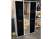 New Sywell 3 Door Mirror Wardrobe - Black & White