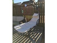 Garden swing chair/lounger with full length cushion