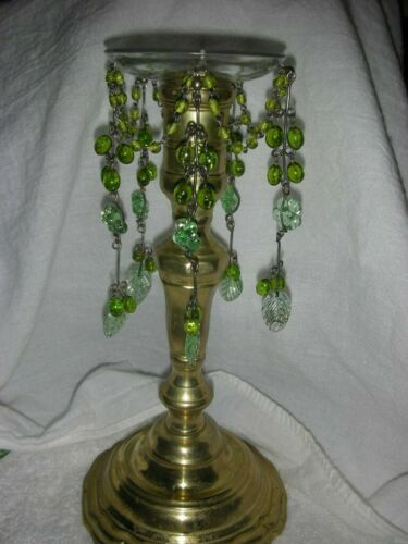 Vintage Green Czech Glass Candle Bobeche with Glass Beads
